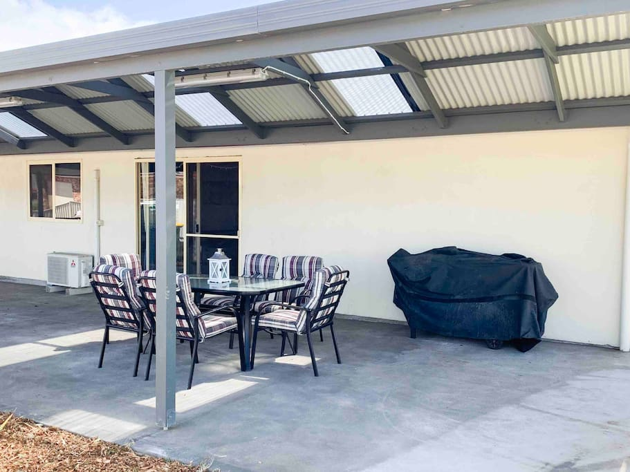 Large pergola with bbq and outdoor setting