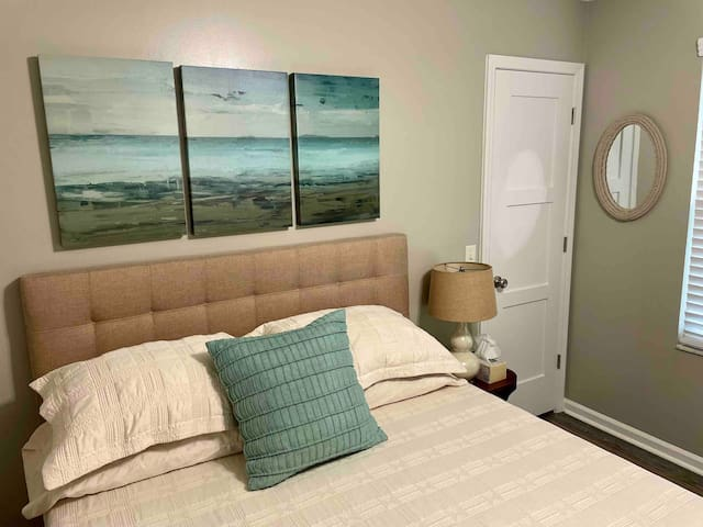 Your private bedroom with nice sheets and a comfortable mattress! Bedroom also includes a Keurig coffee maker and complimentary coffee pods.