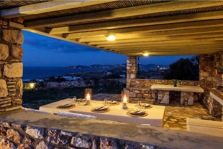 Panoramic Seaview Villa. 300m to Parasporos beach
