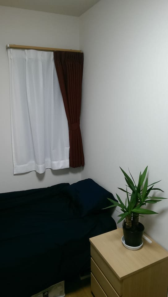 Here's a shot of the bed, curtains, and night table.