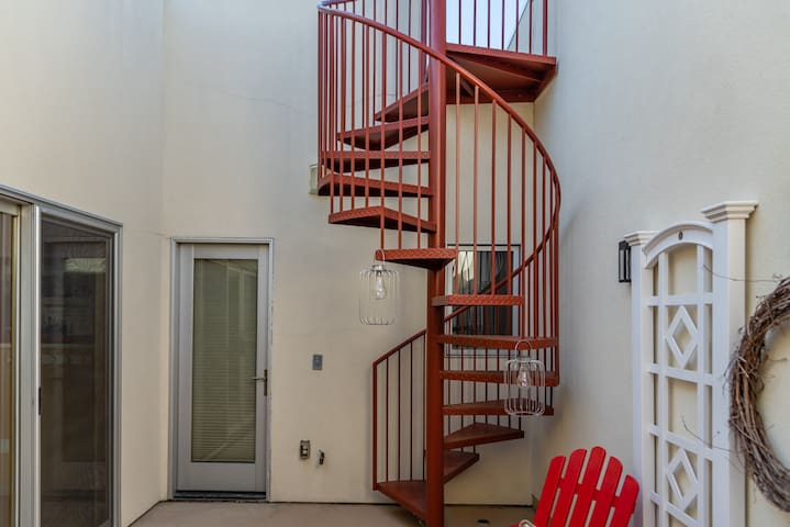 Spiral Staircase leads to Rooftop Access