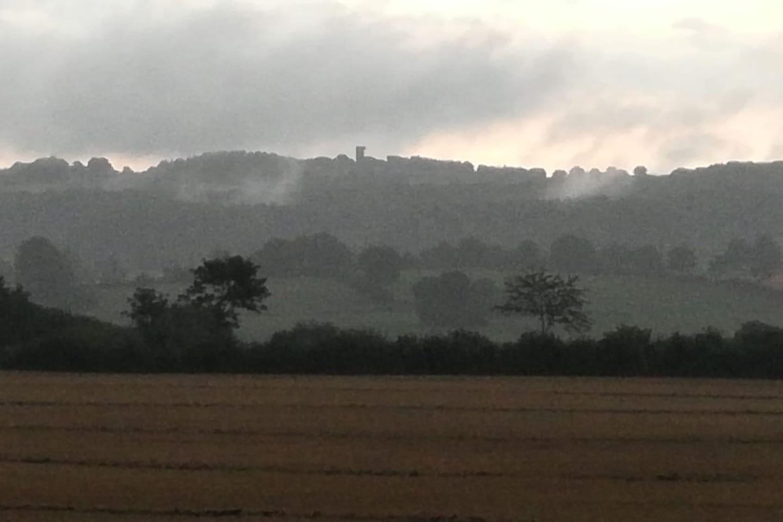 Aussicht vom Grundstück auf den Aschberg.