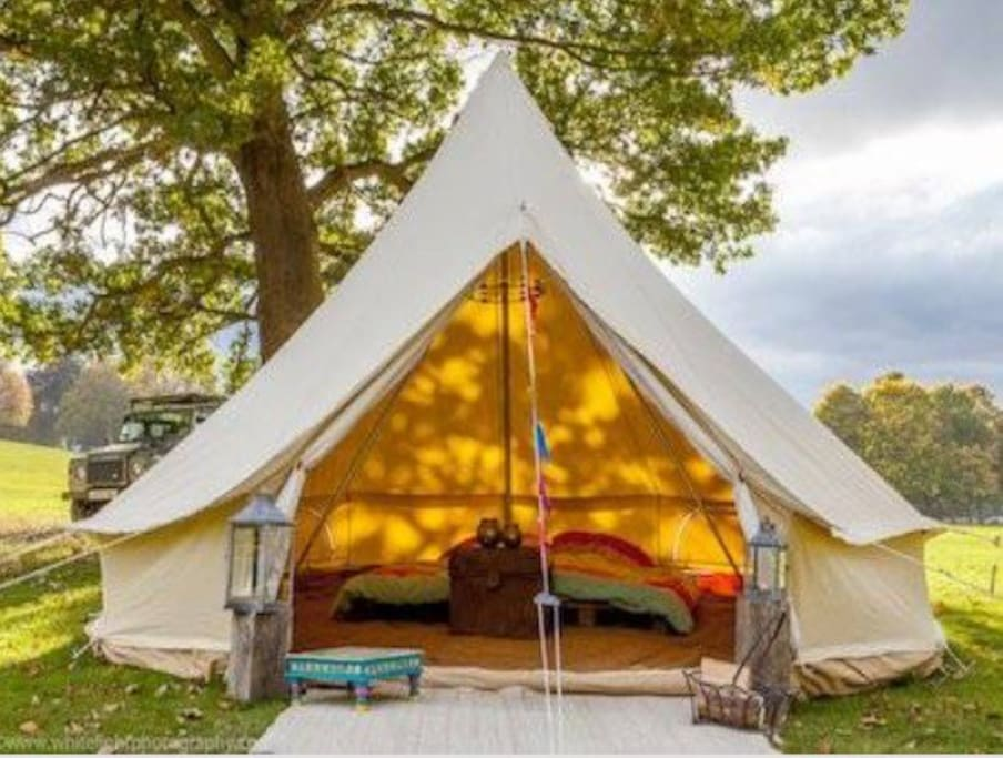 Our Gorgeous Canvas Bell Tents that can sleep up to 5 people