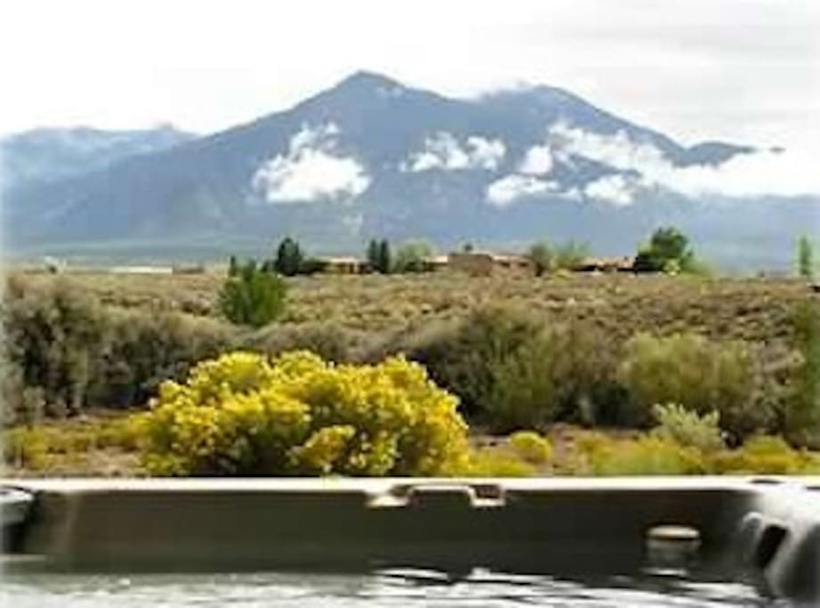 The view of Taos Mountain from the large hot tub