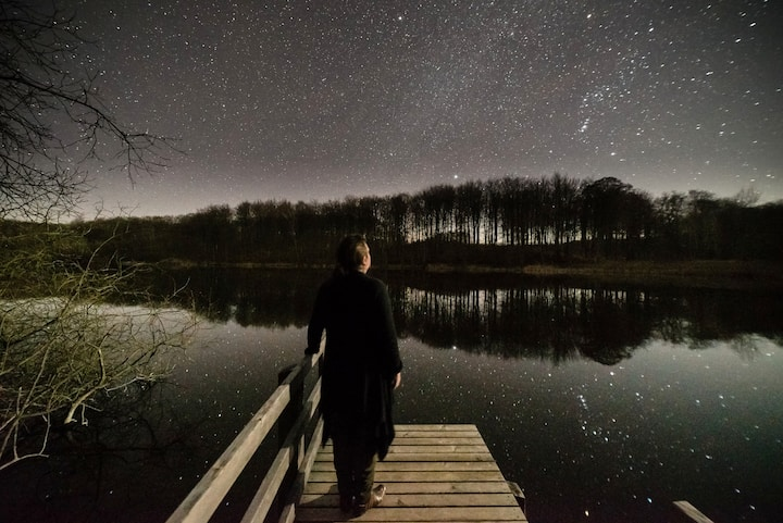 At the lake, surrounded by stars