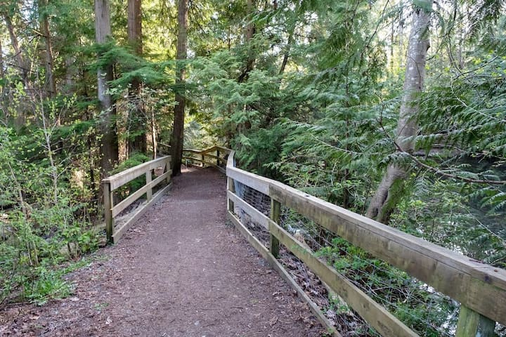 Take a peaceful walk on this trail right behind our home.
