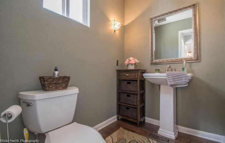 Upstairs guest bathroom.