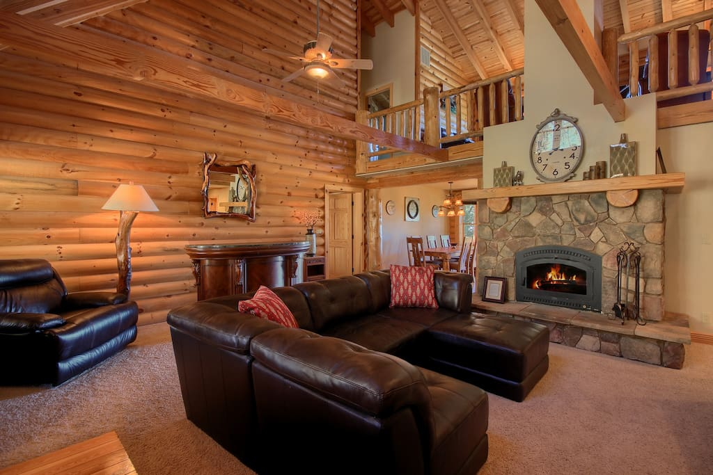 Gather in the living room with your loved ones and cozy up by the fire place or watch DirectTV.