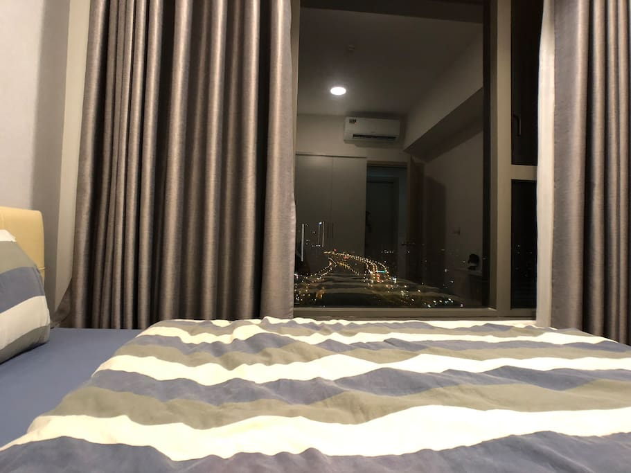 First Bedroom at night. Its really a hype to look at that view of the river.
