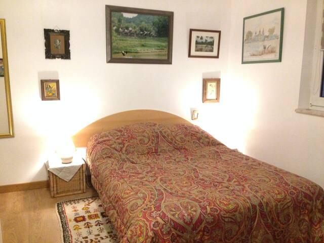 chambre très claire donnant sur le jardin T.V,bureau ,salle de bain privée