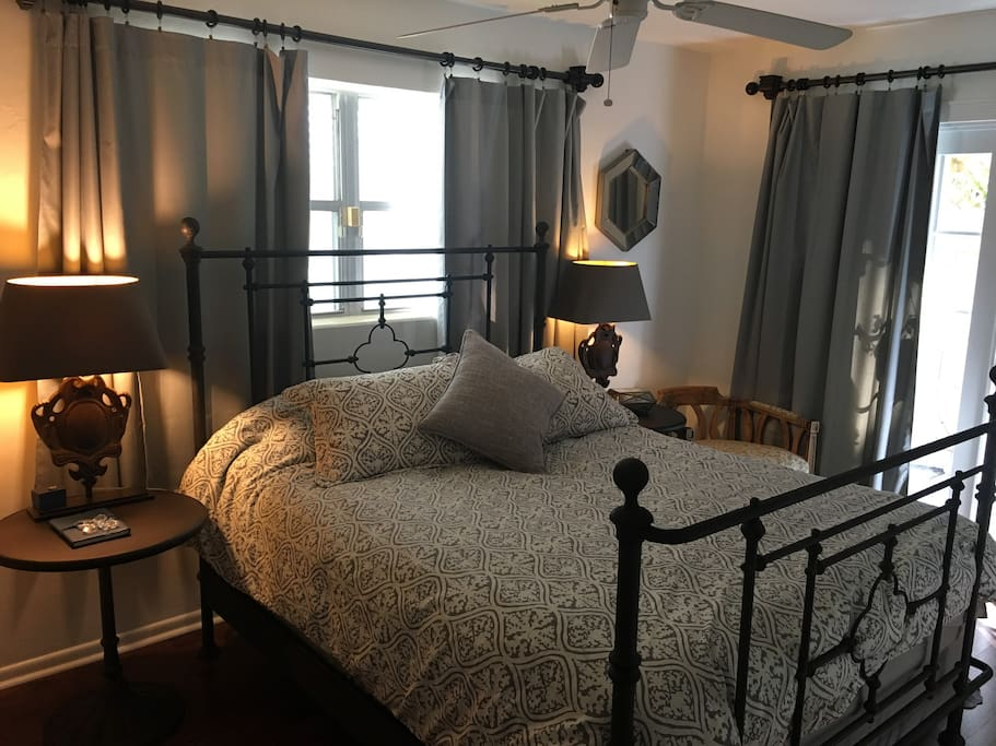 The bed and drapes to sleep well