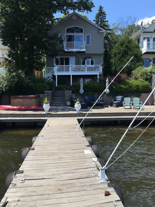A view of the house from the end of the 50 ft dock