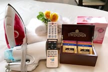 We provide a hairdryer, iron & iron board, Netflix, washer & dryer as well as complimentary tea to help you unwind.