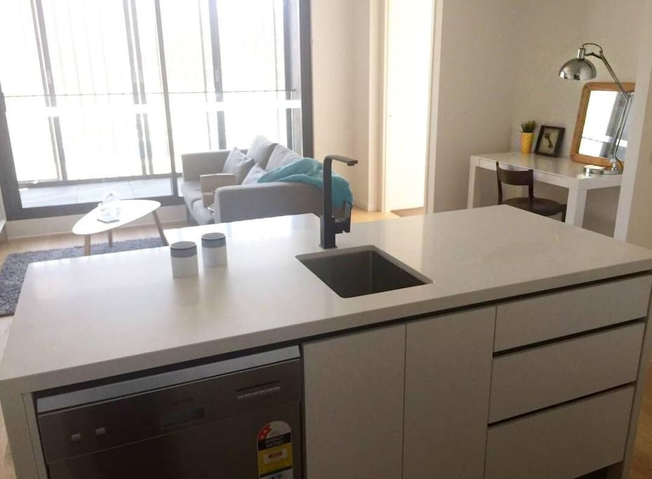 Open plan living and dining plus full dishwasher