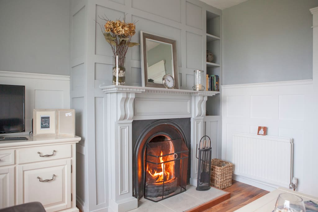 Warm and cosy custom built fireplace