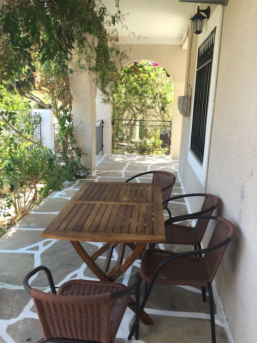 Outside terrace with dining area