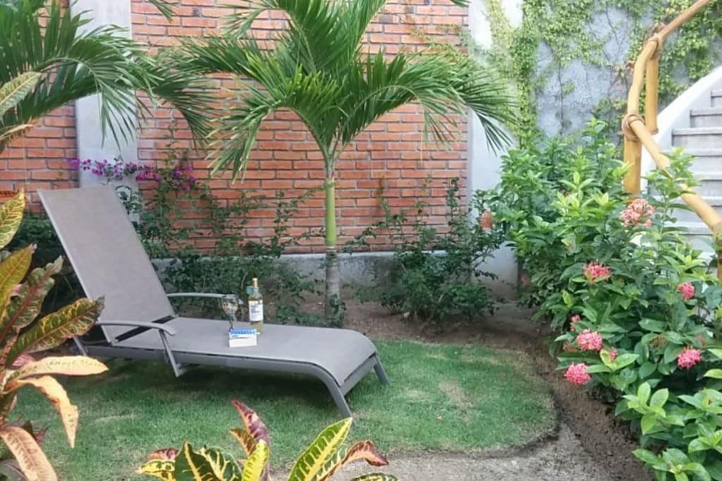Private garden outside studio