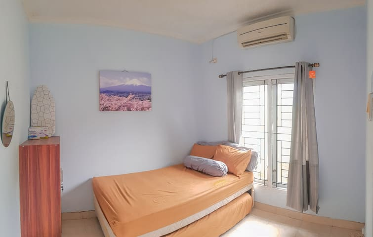 Room 1 - Air Conditioner - Double bed up and down - Cupboard - Mirror - Blanket - Iron - Ironing board