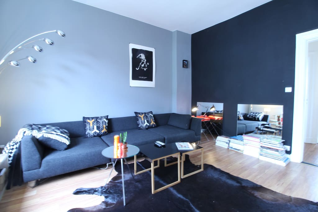 The living room is furnished and decorated with an eye for detail.