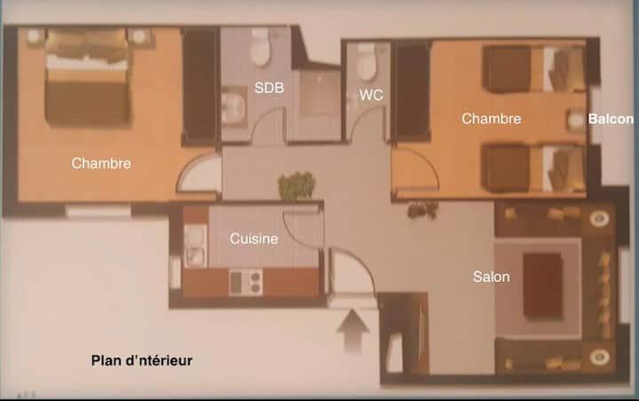 Belle appartement à Fnidaq en face la mer +Piscine