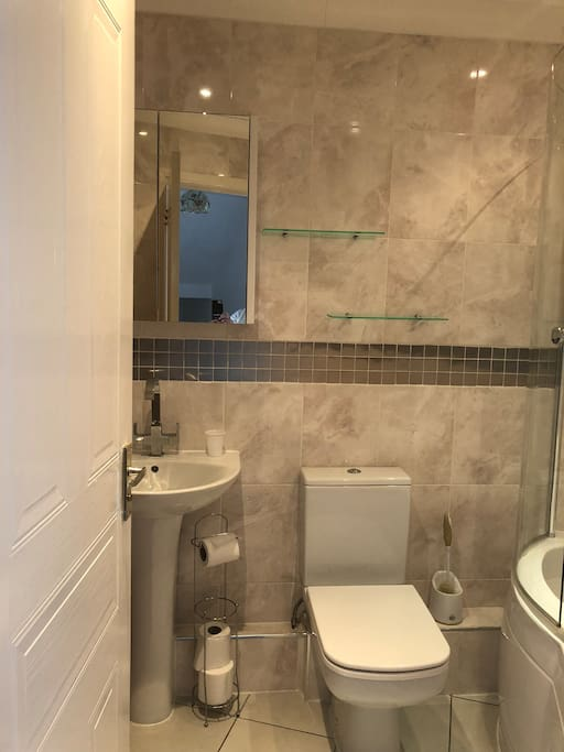 modern bathroom with bath and shower