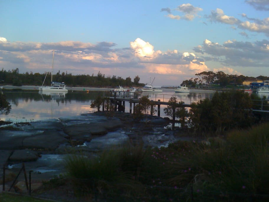 Sunset view from lawn (low tide)