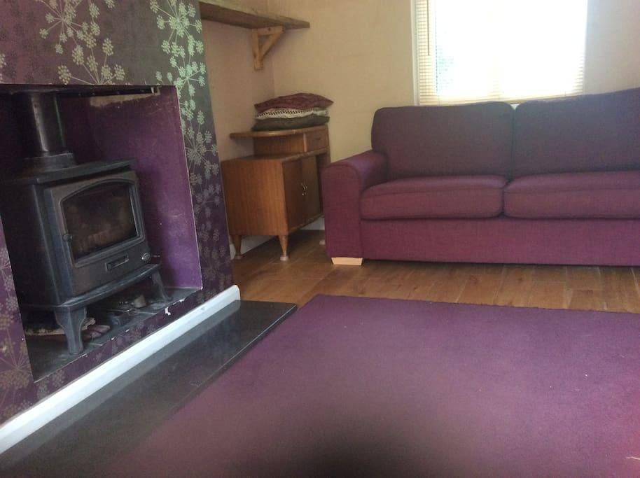 Living room purple theme