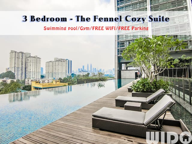 FENNEL 3 Bedroom Suite @ KL /FREE PARKING/WIFI