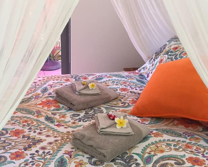 Balinese Bedding with goodies