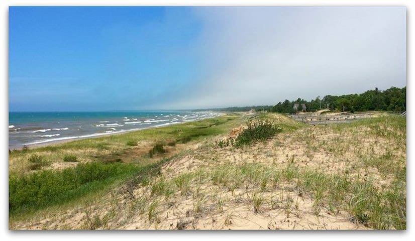 CABIN IN THE DUNES:  Gorgeous Large Log Cabin-Lake Michigan-5 bedrooms,