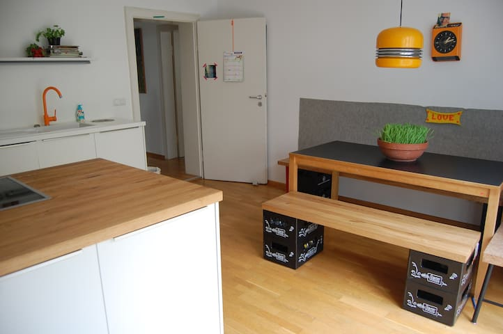 kitchen with table for 5-7 persons