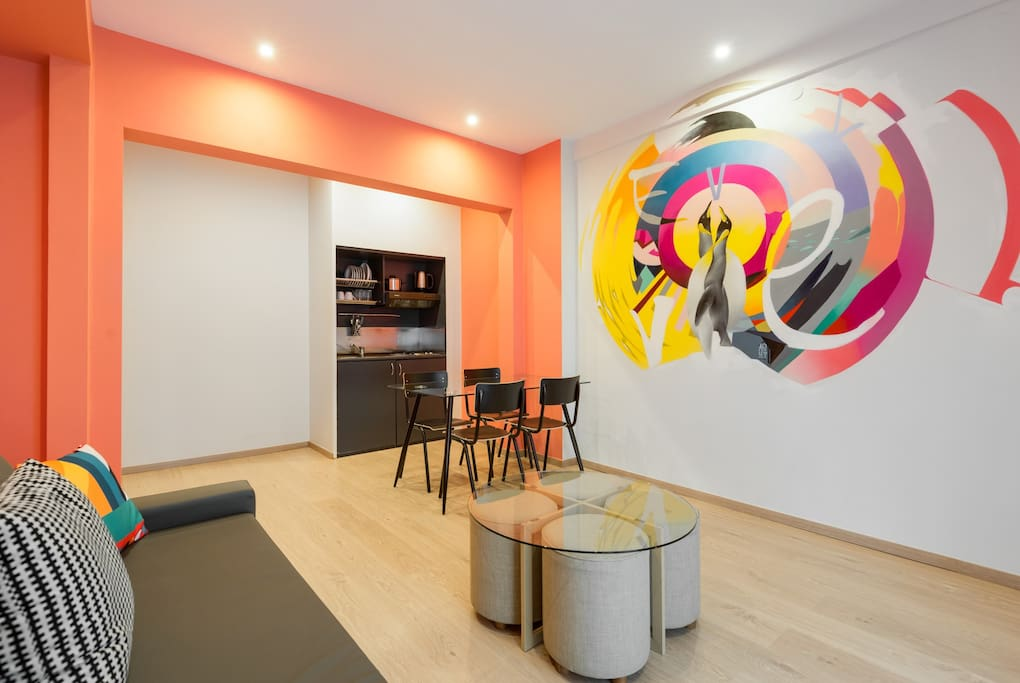The kitchenette & living room with original artwork by street artist ApSet