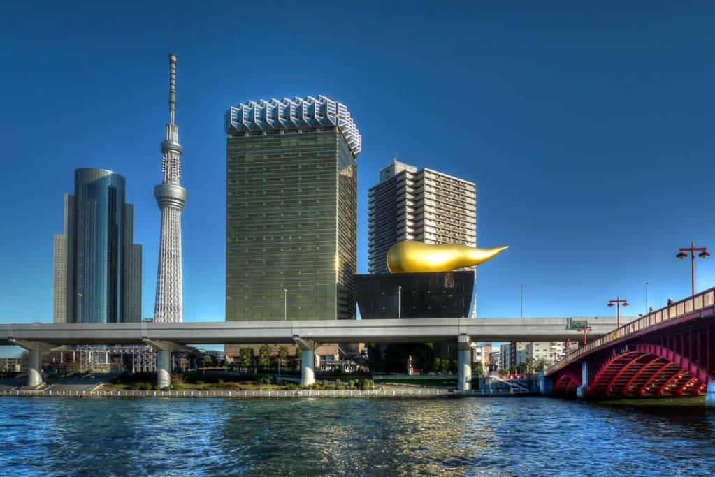 Asakusa,Tokyo Skytree, Asahi Headquarters walking distance