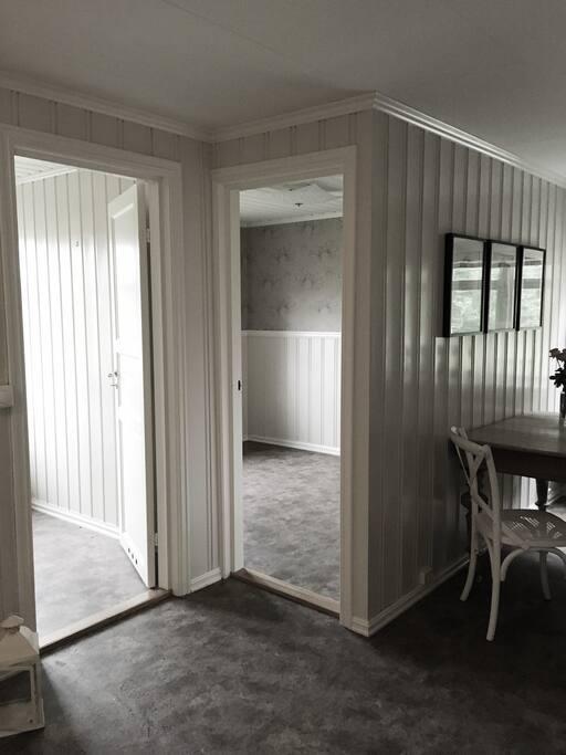 Doors int o each room.