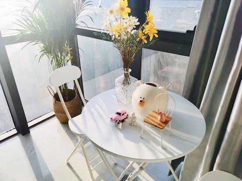 【拾月】元气少女 小清新 杭州大厦 银泰城 落地窗观景公寓