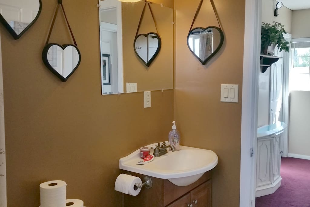 There are 3 restrooms in the house. This is the one next door to your room and, if it is busy, you can always go to the next one. The hairdryer is under the sink.