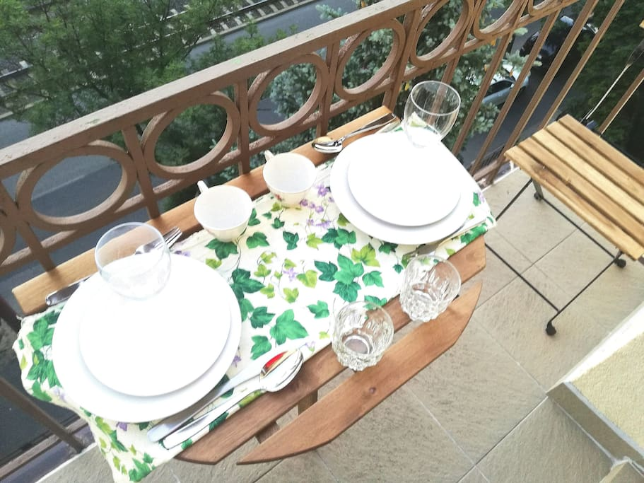 Dining on the balcony