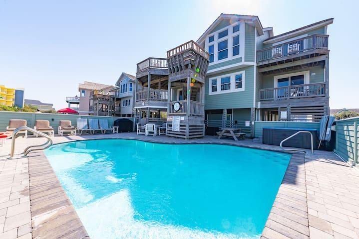 K1217 Ey Believe. Oceanfront, Direct Beach Access, Pool, Hot Tub   7 Bedroom, 4 Bathroom