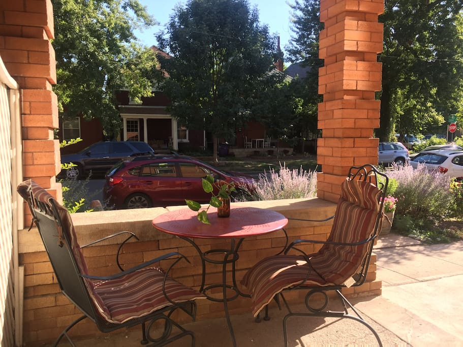 South facing front porch is a sunny spot for relaxing morning, noon or night!