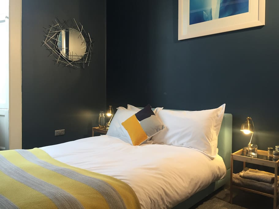 To help you have a good nights sleep we have selected a comfortable, French designer, Ligne Roset double bed and mattress, with separate mattress topper. The bed linens are luxurious pure Egyptian Cotton.