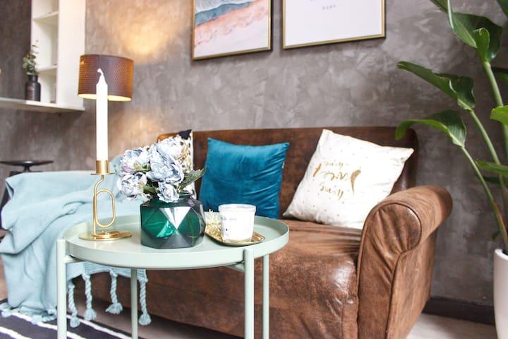 复古色系的客厅 配上Jet&Vincy最爱的墨绿色