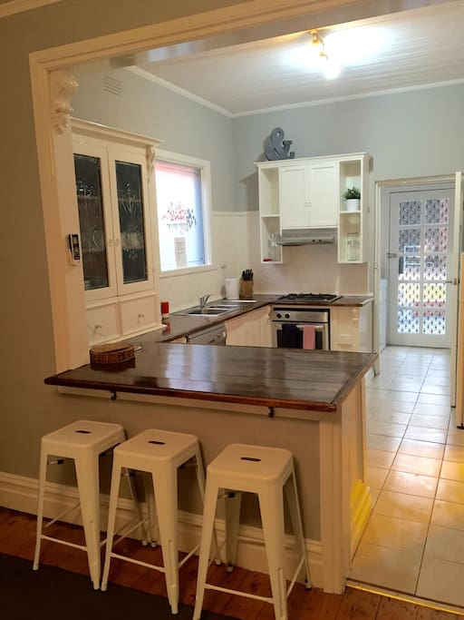 Gorgeous Hand made carved timber kitchen with everything you need for a holiday