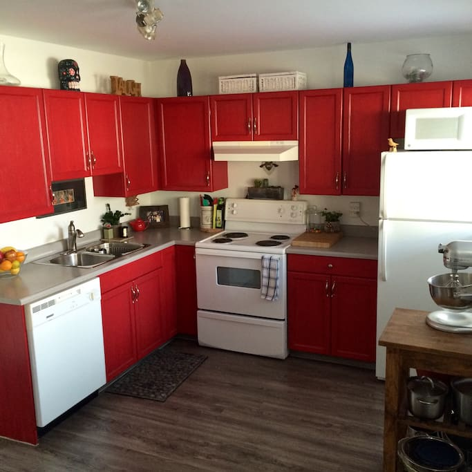 Kitchen is bright and has all your needs.