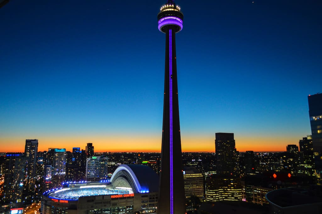 Balcony & Room Night View - CN Tower, Rogers Centre