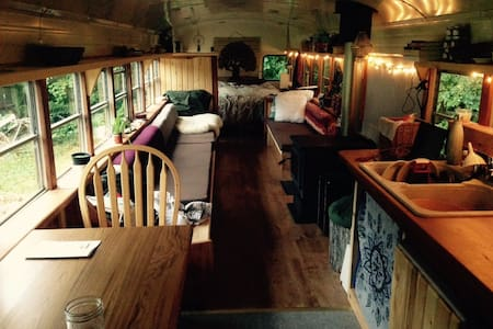 Chown River bus on the North beach of Haida Gwaii