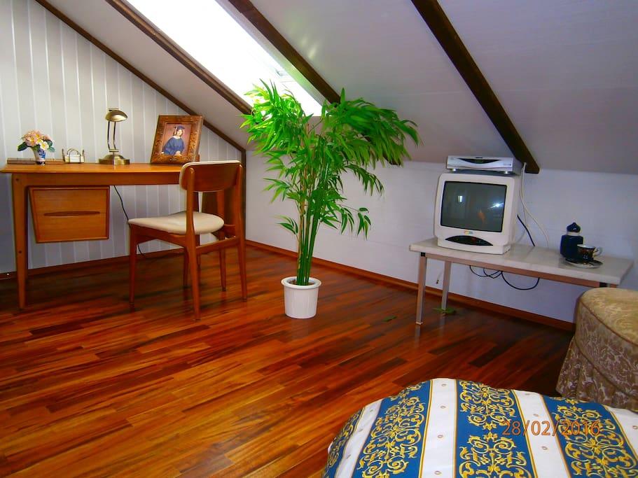 Schreibtisch, WLAN, Satellit Fernseher, Parkettfußboden