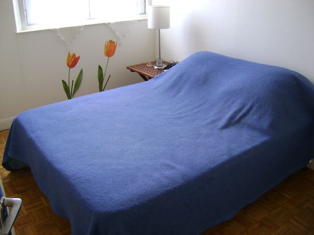 Well lit room with a real comfortable double bed