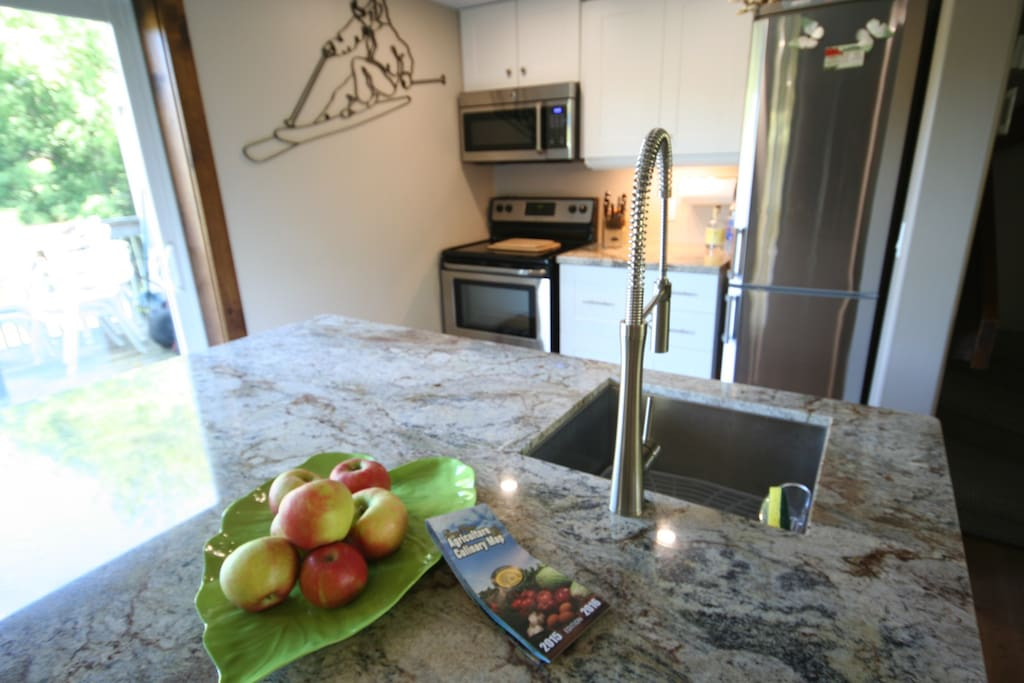 Granite Counter-top! Funky Faucet and Convection microwave Oven