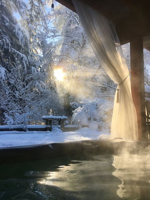 Sitting in the hot tub in February and looking out to this gorgeous morning view.