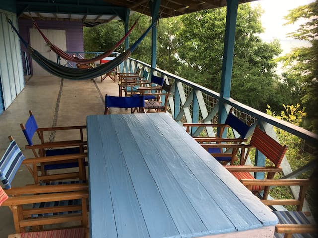 Dining table and balcony Hut 2